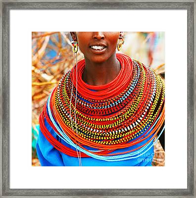African Woman With Traditional Accessories Framed Print by Anna Om