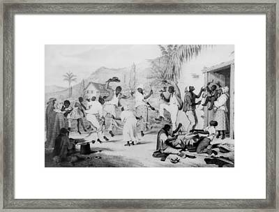 Afro-caribbean Slaves Dancing Framed Print by Everett