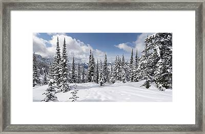 After A Fresh Snowfall At Whitewater Resort Framed Print by Win Initiative