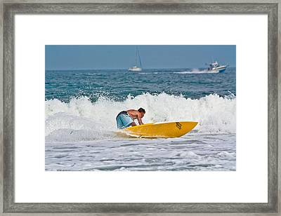 Framed Print featuring the photograph After Catching A Great Wave by Ann Murphy