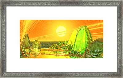 Framed Print featuring the digital art Green Crystal Hills by Kim Prowse
