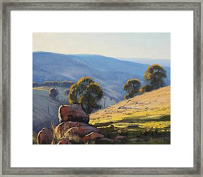 Afternoon Light Turon Hills Framed Print by Graham Gercken