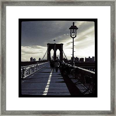 Afternoon On The Brooklyn Bridge Framed Print