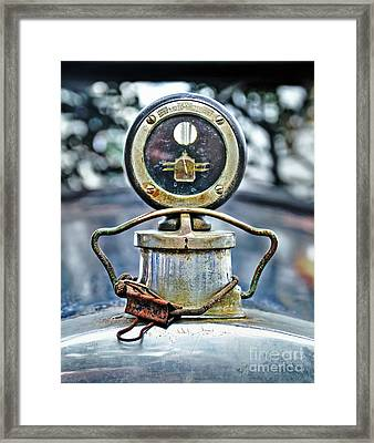 Aged Boyce Moto-meter With Added Paper Clip Framed Print by Kaye Menner