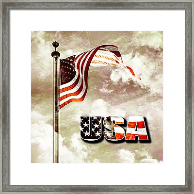 Aged Usa Flag On Pole Framed Print