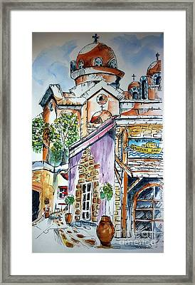 Framed Print featuring the painting Agia Marina by Therese Alcorn