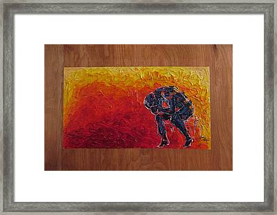 Framed Print featuring the painting Agony Doubled Over In Flames On Wood Panel by M Zimmerman