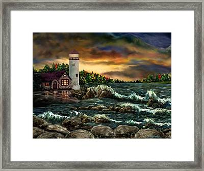 Ah-001-015 David's Point Lighthouse  - Ave Hurley Framed Print by Ave Hurley