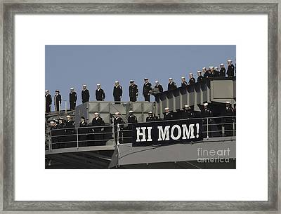 Ailors And Marines Man The Rails Aboard Framed Print by Stocktrek Images
