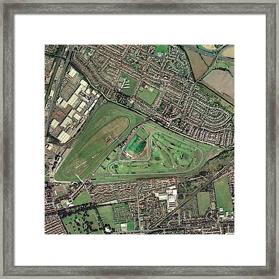 Aintree Horse Racing Track, Aerial Image Framed Print by Getmapping Plc