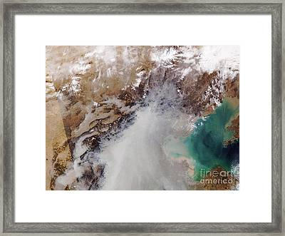 Air Pollution Over China Framed Print by NASA / Science Source