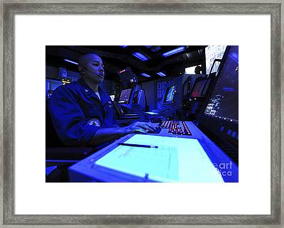 Air Traffic Controller Stands Watch Framed Print