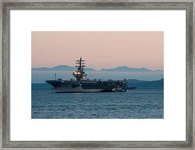 Aircraft Carrier At Sunset - Uss Ronald Reagan Framed Print by Matt Dobson