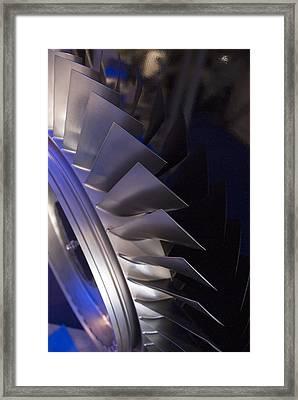 Aircraft Engine Fan Blades. Framed Print by Mark Williamson