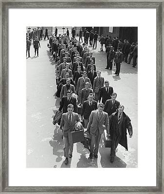 Airforce Cadets Walking In Rows (b&w) Framed Print by Hulton Archive