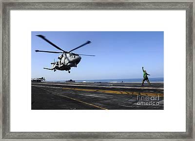 Airman Directs An Eh-101 Merlin Framed Print