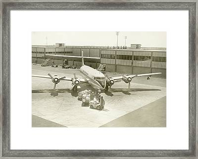 Airplane And Ground Crew On Airport Framed Print by George Marks
