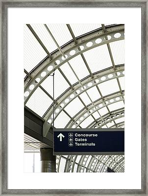 Airport Information Sign Framed Print by Ben Sandall