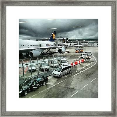 #airport #manchester #plane #car #cloudy Framed Print by Abdelrahman Alawwad