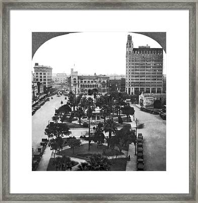 Alamo Plaza In San Antonio Framed Print by Underwood Archives