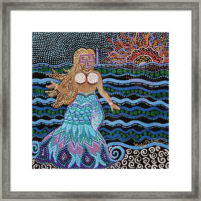 Alan Spots A Mermaid At The Great Barrier Reef Framed Print
