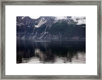 Alaskan Mountain Scene Whales Framed Print