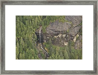 Alaskan Waterfall Arial View8888 Framed Print by Michael Peychich