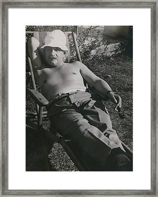 Albert Einstein 1879-1955, Sunbathing Framed Print by Everett