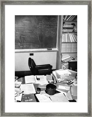 Albert Einsteins Study At The Institute Framed Print