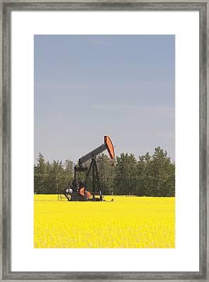 Alberta, Canada Pump Jack In A Framed Print by Michael Interisano