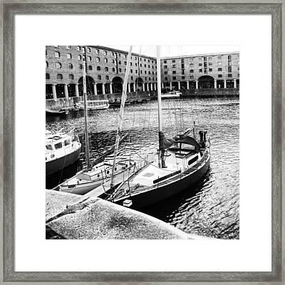#albertdock #liverpool #harbor #boat Framed Print