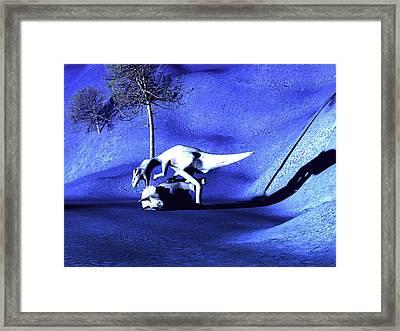Albertosaurus Dinosaur Feeding Framed Print