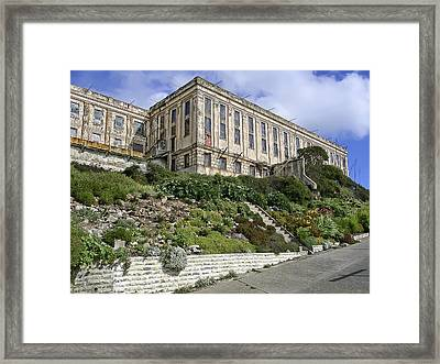 Alcatraz Cell House West Facade Framed Print by Daniel Hagerman
