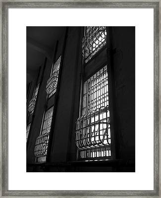 Alcatraz Federal Penitentiary Cell House Barred Windows Framed Print by Daniel Hagerman