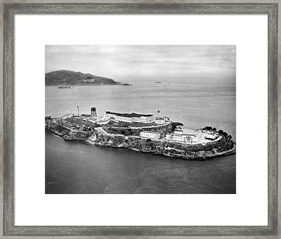 Alcatraz Island And Prison Framed Print by Underwood Archives