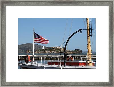 Alcatraz Island Through The Hyde Street Pier In San Francisco California . 7d14163 Framed Print by Wingsdomain Art and Photography