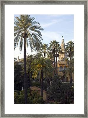 Alcazar Palace Gardens With The Giralda Framed Print by Krista Rossow
