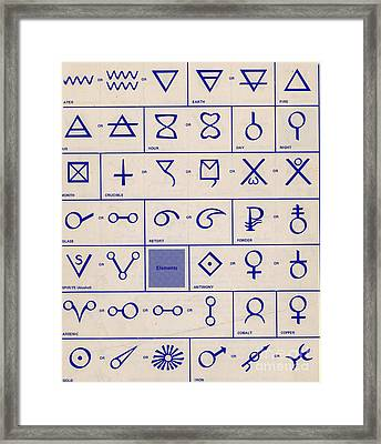 Alchemical Symbols Framed Print by Science Source