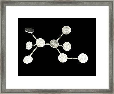 Alcohol Molecule Made Out Of Coins Framed Print by Christian Darkin