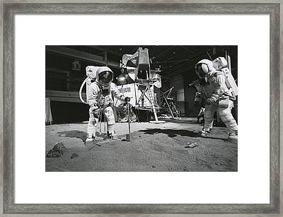 Aldrin And Armstrong Practicing Framed Print by Nasa