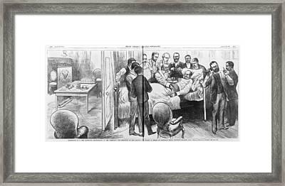 Alexander Graham Bell Using Framed Print by Everett