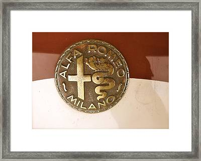 Framed Print featuring the photograph Alfa Romeo Badge by John Colley