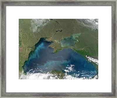 Algal Blooms In The Black Sea Framed Print by NASA / Science Source