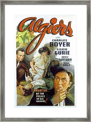Algiers, Charles Boyer, Hedy Lamarr Framed Print by Everett