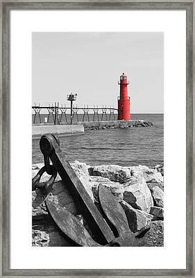 Algoma Lighthouse Is Anchored Framed Print