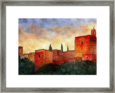 Alhambra At Sunset Framed Print
