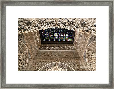 Alhambra Stained Glass Detail Framed Print by Jane Rix