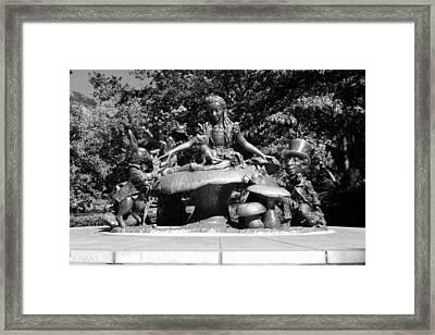 Alice In Wonderland In Central Park In Black And White Framed Print