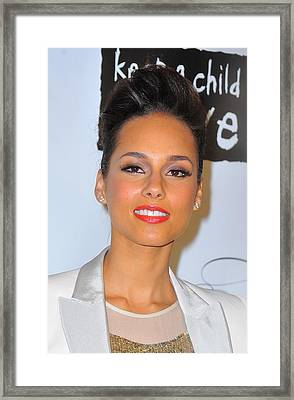 Alicia Keys At Arrivals For Keep Framed Print by Everett