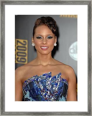 Alicia Keys Wearing An Armani Dress Framed Print
